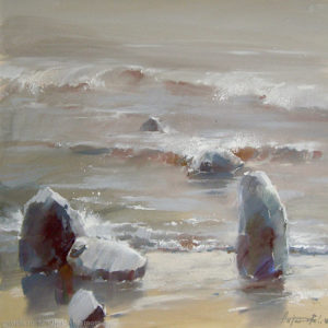 Retreating into the sea 53×53. 2008