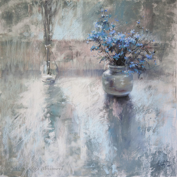 Morning forget-me-nots 70×70. 2018